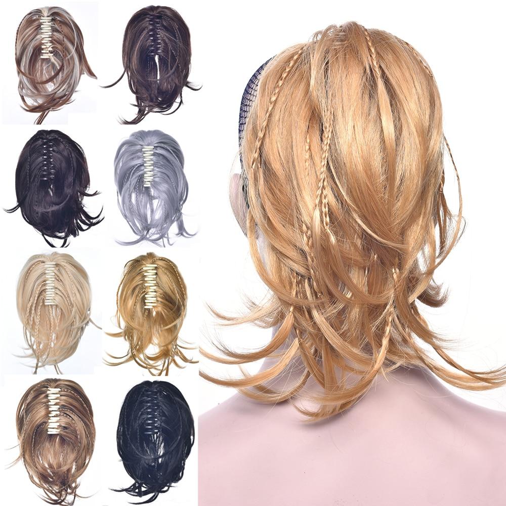 Soowee плетение шиньон синтетические волосы блонд черный зажим для наращивания волос кудрявый маленький конский хвост серый Коготь Конский х...