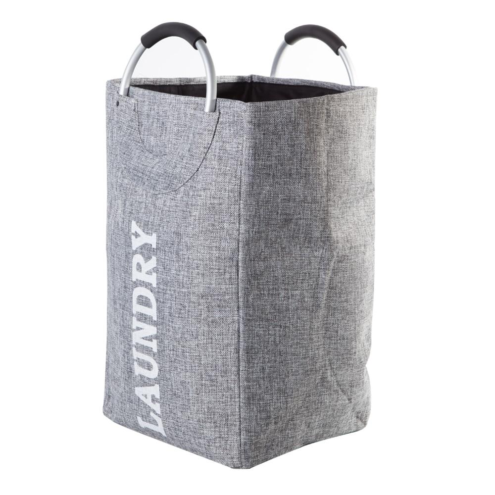 Image 4 - SHUSHI Foldable linen laundry hamper on aluminum handle home large toys sundries Storage basket hotsell Folding laundry handbag-in Storage Baskets from Home & Garden