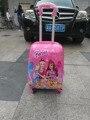 Бесплатная доставка Барби Принцесса моды багажа дети мультфильм чемодан багажа с rolls ЕВА путешествие чемодан колеса