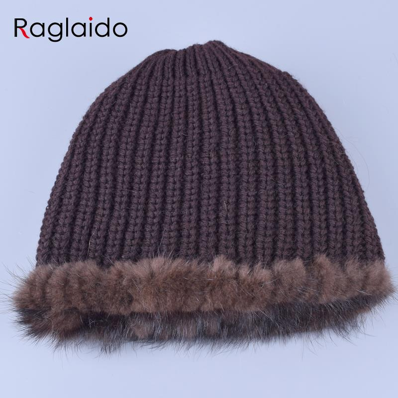 Apparel Accessories ... Hats & Caps ... 32726436747 ... 4 ... Raglaido Knitted Mink Fur Hats for Women Genuine Natural Fur Pineapple Cap Winter Snow Beanie Hats Russian Real Fur Hat LQ11191 ...