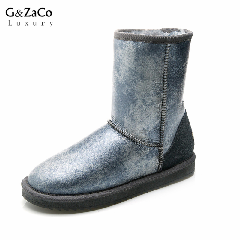 G&Zaco Luxury Brand Sheepskin Snow Boots Natural Wool Sheep Fur Boots Mid Calf Flat Women Boots Waterproof Women's Winter Shoes