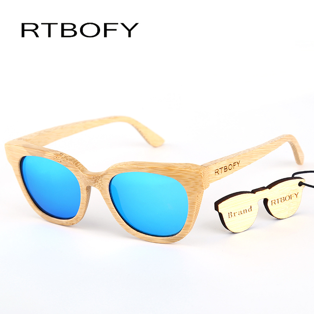 c35335e6eb RTBOFY Bamboo Polarized Sunglasses Women Wooden Sun glasses Women Brand  Designer Original Wood Glasses Oculos Z22