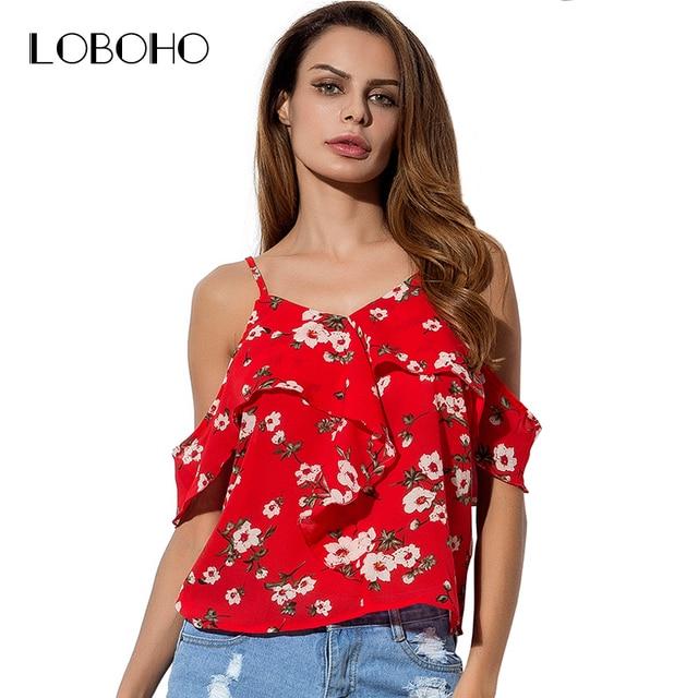 Print Floral Blouse Chiffon Fashion 2018 Summer Off