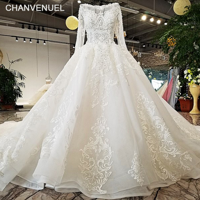 026685e0d88 LS32171 100% real long sleeves O-neck see through body and back big puffy  skirt wedding dress 2018 new design alibaba wholesale