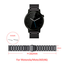 22MM Stainless steel strap for Moto360 (46) smart watch Folding buckle adjustable size Moto360 watch Replacement strap
