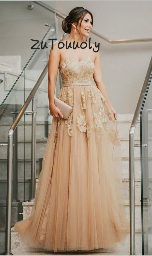 Fitted Champagne   Evening     Dress   Long Lace Boho Prom   Dresses   A Line Sweetheart Floor Length Tulle Party   Dresses   Formal Wear 2019