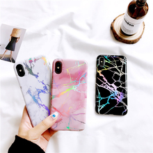 For iphone X Case Shiny Laser Marble TPU Case for iphone 6 6s 6plus 7 7Plus 8 8Plus soft TPU case back cover Protective shell