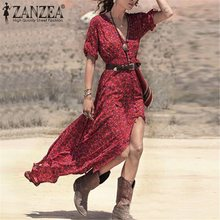 2016 New Fashion Women Summer Dress Sexy V Neck Belted Split Maxi Long Vestidos Red Boho Printed Stylish Beach Dresses S M L