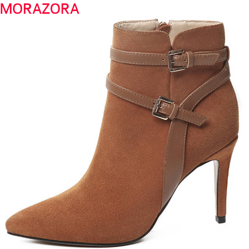 MORAZORA 2018 new arrival pointed toe autumn winter ankle boots suede leather fashion party shoes thin high heels boots women morazora 2018 new fashion shoes woman suede leather ankle boots pointed toe autumn winter slip on party high heels boots women