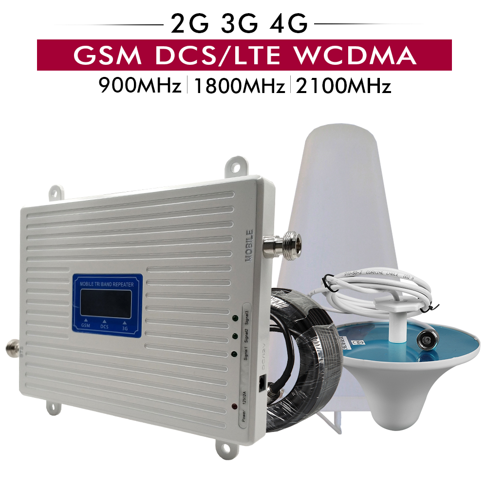 2G 3G 4G Tri Band Signal Booster GSM 900+DCS/LTE 1800+UMTS/WCDMA 2100 Cell Phone Repeater 900 1800 2100 Mobile Signal Amplifier