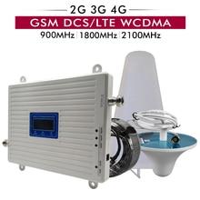 2g 3g 4g tri banda impulsionador de sinal gsm 900 + dcs/lte 1800 umts/wcdma 2100 repetidor de telefone celular 900 1800 2100 amplificador de sinal móvel