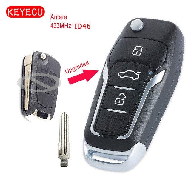Keyecu обновлен флип удаленной машине брелок 2/3 Кнопка дополнительно 433 мГц ID46 чип для Opel Antara режиссерский HU46 лезвие