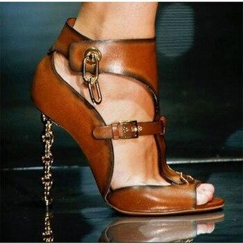 Fashion Black Brown Gadiator Summer Sandals Brand Design Strange High Heels Dress Shoes Women Cut-out Peep Toe Sandals Pumps
