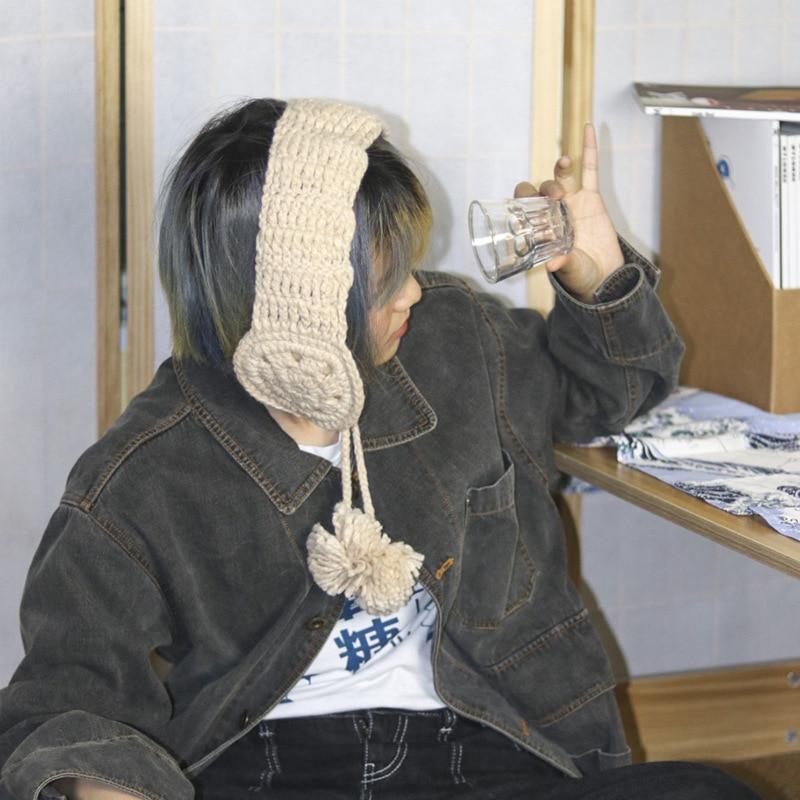 Winter Keep Warm Earmuffs For Women Acrylic Wool Crochet Flower Ear Bag Ins Style Fashion Knitting Ear Protection For Girls Q890
