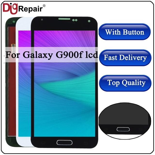 G900F شاشات LCD لسامسونج galaxy s5 LCD G900F G900M G900A G900T عرض محول الأرقام بشاشة تعمل بلمس المنزل زر ل galaxy s5 شاشة الكريستال السائل