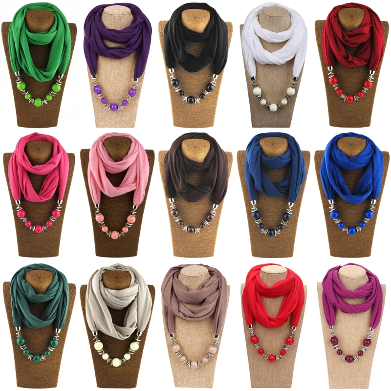 1 Pc Polyester Womens Fashion Neckerchief Ring Scarf Necklaces Beads Solid Color Jewelry Shawl High Quality