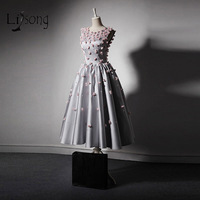 Мода Саудовская Аравия; Длина Выпускные платья 3D цветок Серебряный официальная Вечеринка платье с О образным вырезом, платье на выход для в