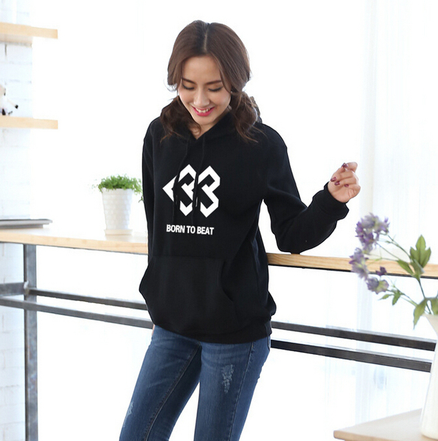 US $22 4 41% OFF|Kpop new idol group born to beat black hoodie casual 100%  cotton men women autumn pullover sweatshirt chandal hombre-in Hoodies &