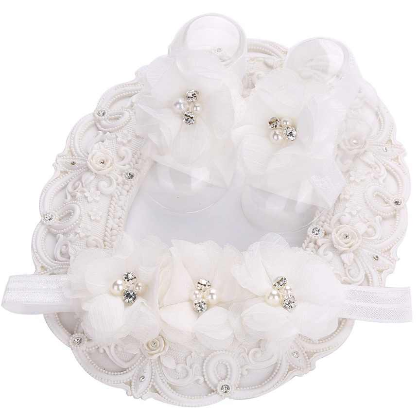 2016 Baptism Baby Girl sapato bebe menina,Rosset shoes and 3 pcs Rhinestone/pearl flowers Headband Barefoot baby girl shoes set