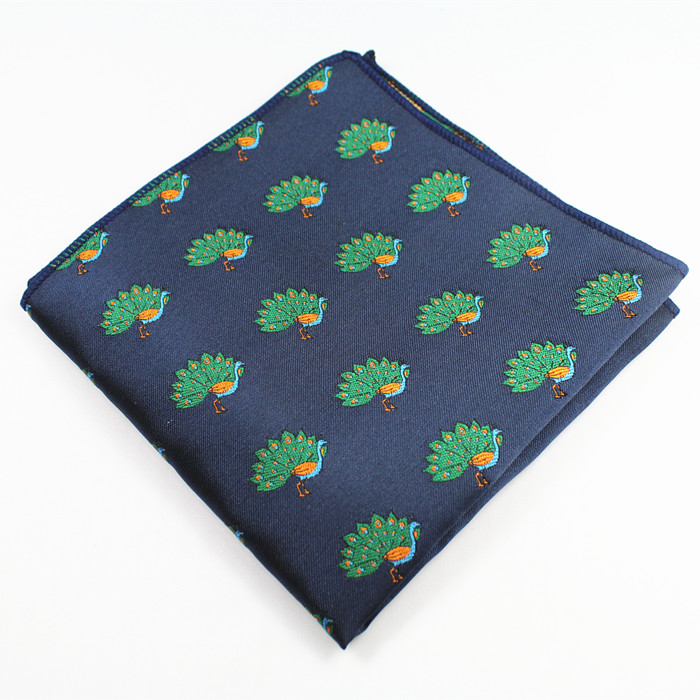 RBOCOTT Novelty Animal Pocket Squares Men's Fashion Blue Handkerchief 22cm*22cm Hanky For Business Party Suit Accessories