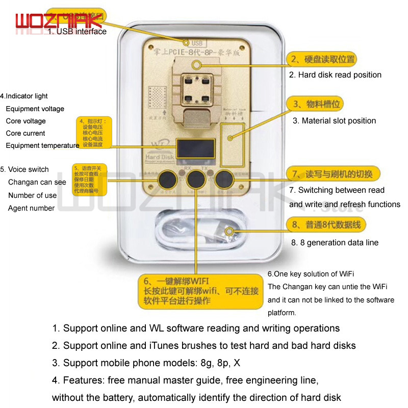 WL PCIE 64Bit Programmer For Iphone 5 6 6s 6sp 7g 7p 8 8P X 11 NAND Hard Disk Read Write Test Rack Serial Number SN For IPhone