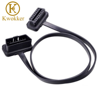 KWOKKER 60CM Flat Thin As Noodle Cable OBD OBD2 OBDII 16Pin Male to Female Car Diagnostic Tool Extension Connector Cable
