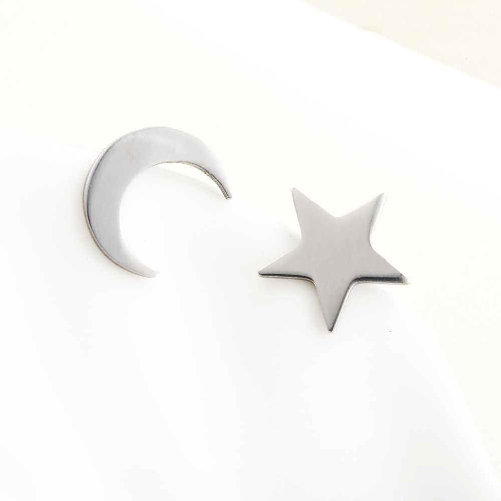 Новый романтический небольшой золото/серебро/с изображением луны и звезд, милые в форме сердца серьги-гвоздики Для женщин вечерние подарок девушке e0206