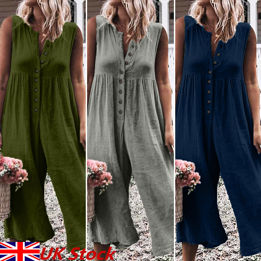 Women Sleeveless Jumpsuit Dungaree Baggy Loose Romper Overalls Playsuit Pants