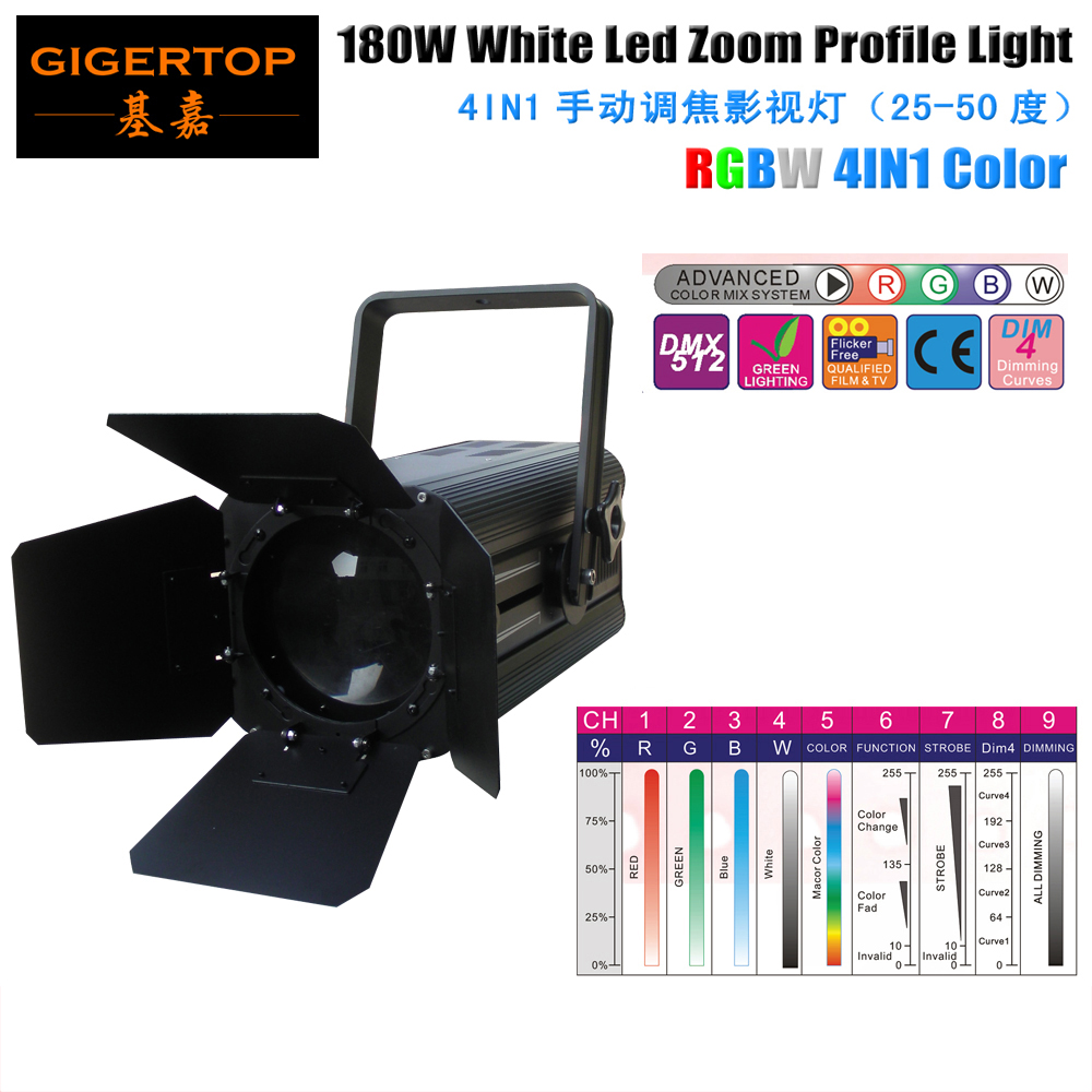 TIPTOP TP-018 180W RGBW 4IN1 COB Film As Arri LED Fresnel Studio spot Light Camera DV Camcorder Aluminum Zoom Profile Light freeshipping tiptop 200w led profile spot rgbw 4in1 stage wash effect cast aluminum gobo frame spring clip safety zoom tp 007