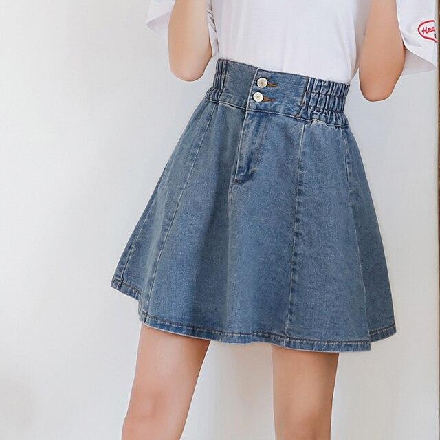 f4eb4d06f9 Vetevidi New Korean denim skirt pleated high eastic waist loose a word  Ponceable skirt women 502#