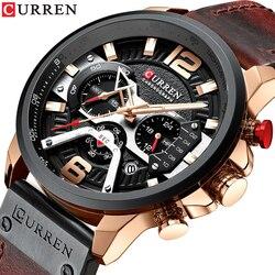 CURREN Quartz Men Watches Leather Auto Date Day Wristwatches Fashion Casual Calendar Brand Man Watch Relogio Masculino 8329