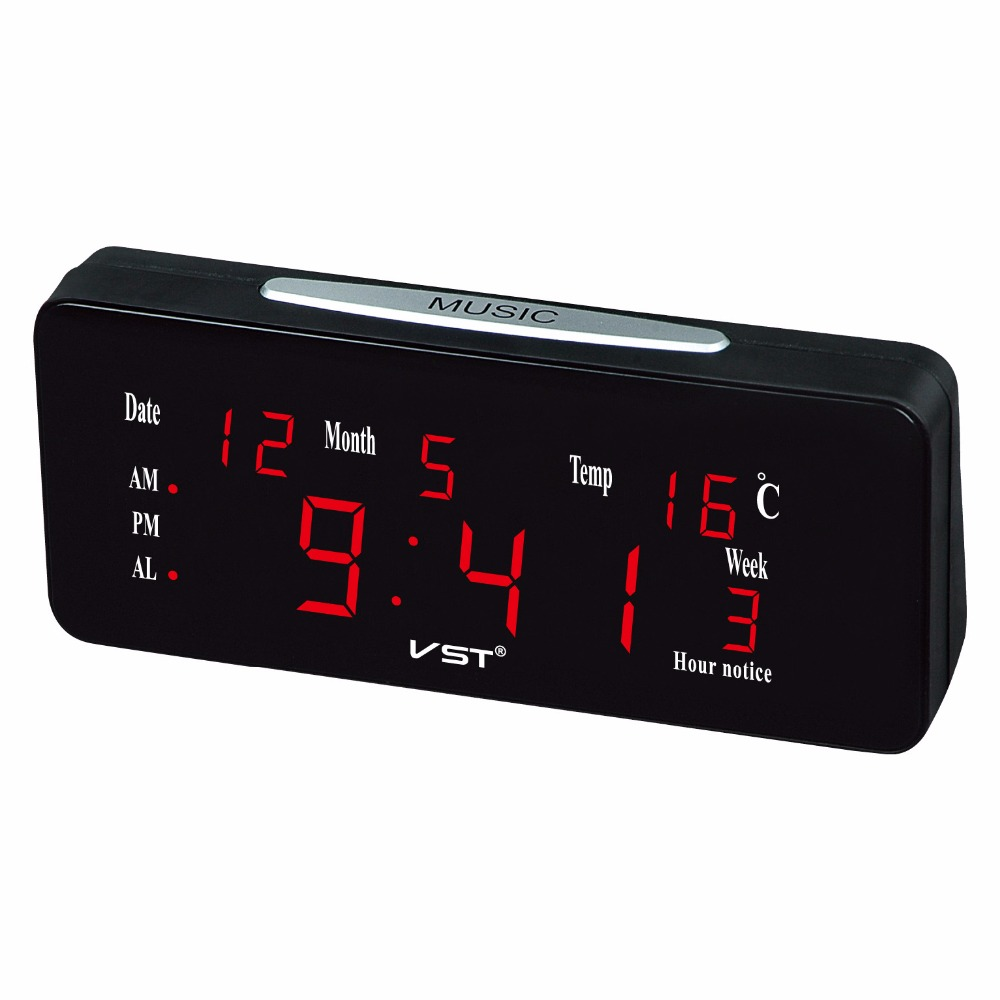 2018 Multifunction LED calendar desk Clock With Music Alarm bell Hourly Chiming LED Lightness Electronic Desktop alarm Clock