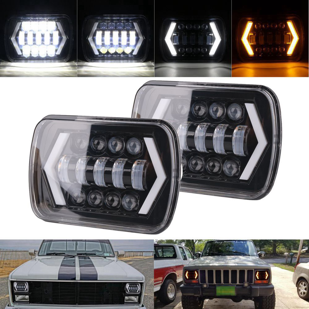 Old fashion 7x6 LED Headlights H4 Light for Jeep Wrangler YJ Cherokee Comanche 5x7 Led Square Headlights Led working light