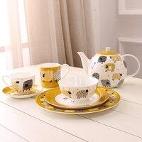 Britischen Schafe Knochen China Tee-Set Porzellan Teegeschirr Set Für Kaffee Blume Tee Nette und Kreative Tee Tasse Anzug Freies verschiffen
