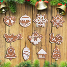 11pcs Gingerbread Man Christmas Pendant Ornament Christmas Tree Santa Claus Snowflake Biscuit Pine Cone Bird Decoration Pendant(China)