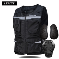 LYSCHY High Visibility Jackets Motorcycle Vest Night Riding Reflective Vest With Protective Pads Motorbike Jacket Waterproof