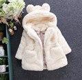 Meninas Do Bebê inverno Casaco de Lã da Pele Do Falso Partido Pageant Jacket Quente 80-150 cm Do Bebê Snowsuit Crianças Outerwear Roupas AF-1669