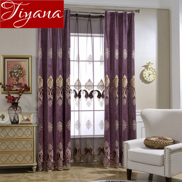 Curtains Window Living Room European Geometric Embroidered Voile Chenille Tulle Purple Sheer Fabrics Shade T019
