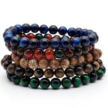 8mm Nature Stone Beads Tiger Eye Buddha Beads Bracelets Bangles For Men Women Male Strand Bracelet Jewelry Accessories on Hand