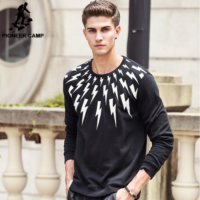 Pioneer Camp hip hop hoodies for men brand hoodie top quality male black lighting sweatshirts fashion casual printed 622169