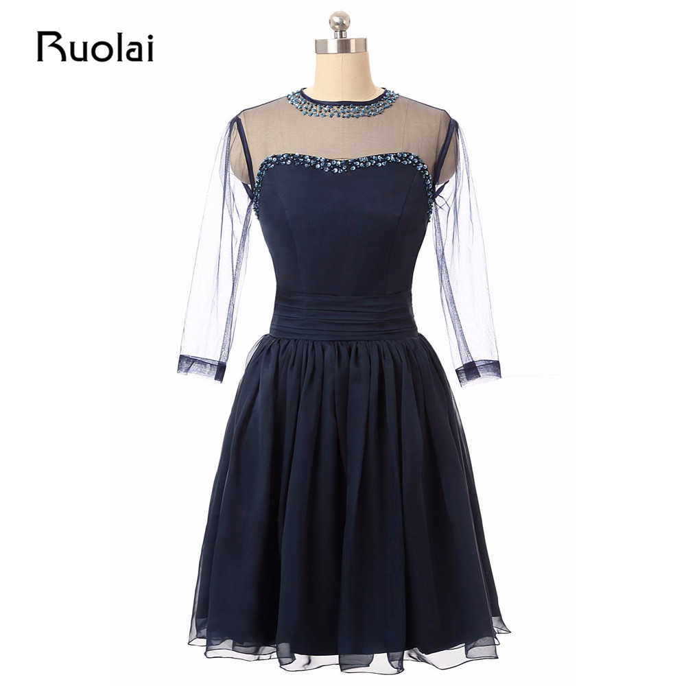 Real Picture Scoop Three Quarter Sleeves Neckline Beaded Chiffon Short   Prom     Dress   Evening   Dress   Formal Party   Dress   FP11