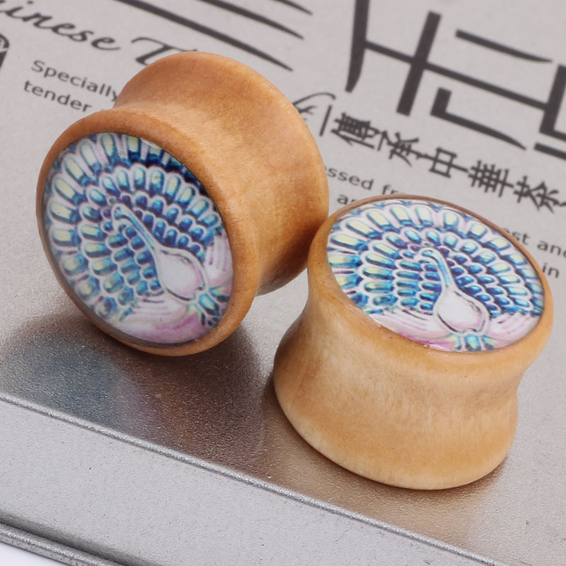 Bright peacock fashion explosion wood ear expander font b Earrings b font ear defender PIERCING PLUG