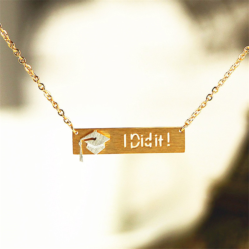 "HTB1kJcdPXXXXXbfXVXXq6xXFXXX5 - Graduation ""I Did It"" Pendant with Slim Chain"