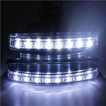 цена на Car Daylight Bulb Head Lamp 1pcs styling 8 LED Super Bright Car DRL Daytime Running Light White Useful High Quality universal