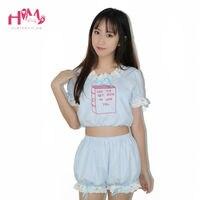 Leuke Borduren Franse Vintage Pop Baby Harajuku Japanse Hot Pak Roze Blauw Strip Kant Pompoen Broek Feminine Pyjama Een Set