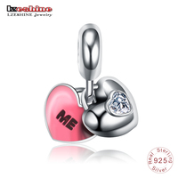 LZESHINE Real 100 925 Sterling Silver YOU ME Heart Pendant With AAA CZ Enamel Charm Beads