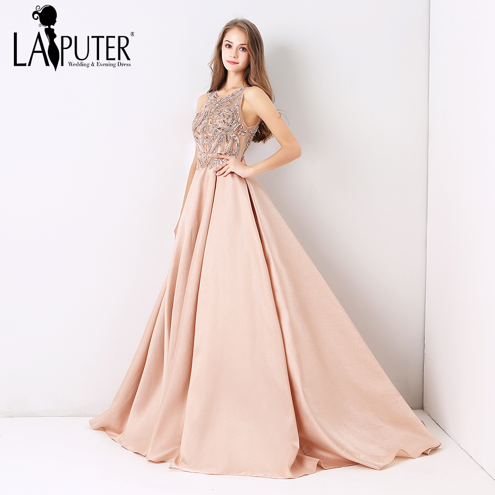 Laiputer Dusty Pink Sexy Formal Long Ball Gown Evening Prom Dress Luxury Beading  2018 New Collection f0ee17b78308