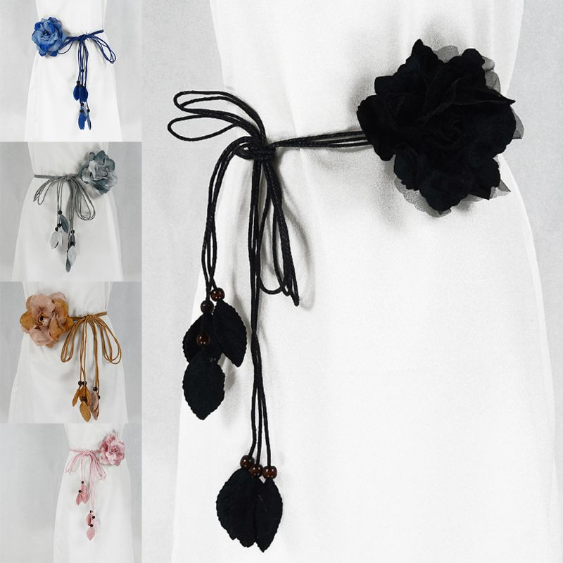 Casual Wild Women Ladies Thin   Belt   Sweet Knotted Waist Chain Long Fringed Skirt Decorative
