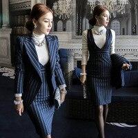 Sọc Áo Khoác Không Tay + Vest Váy Phù Hợp Với Mùa Đông của Phụ Nữ Set Ladies Mảnh Ăn Mặc Phù Hợp Với phù hợp với Công Việc phụ nữ đồng phục