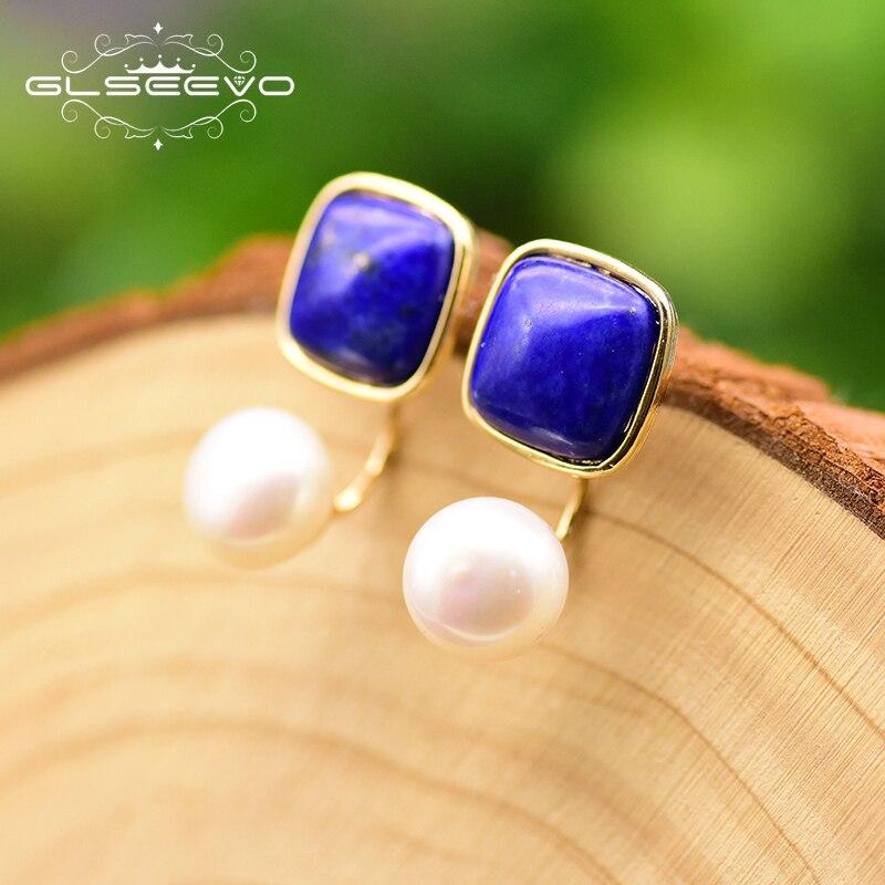 GLSEEVO Natural Square Lapis Lazuli Fresh Water Pearl Earrings For Women Dual-Pur Dangle Earrings Handmade Fine Jewelry GE0327